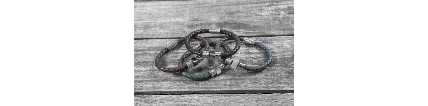 Men's Leather and Rubber Bracelets