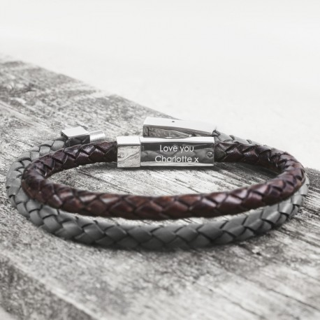 Personalised Hidden Message Leather Bracelet