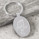 Keyring with Oval Drawing Charm