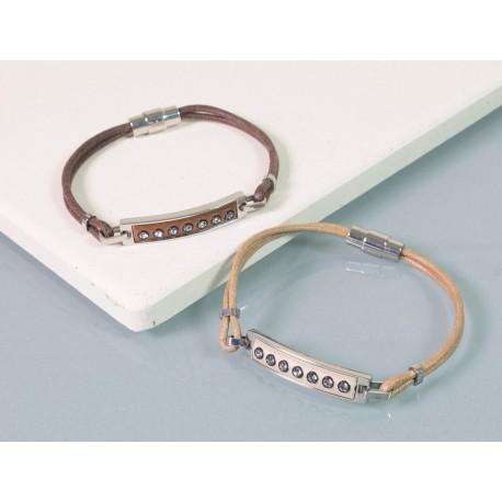 Personalised Swarovski Leather Ladies Bracelet