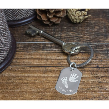 Personalised Dog Tag Print Keyring
