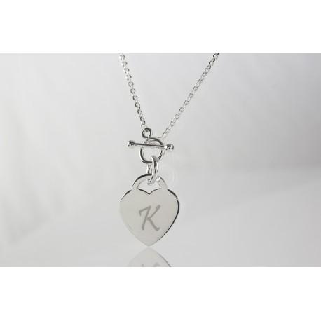 Personalised Heart Charm Toggle Chain